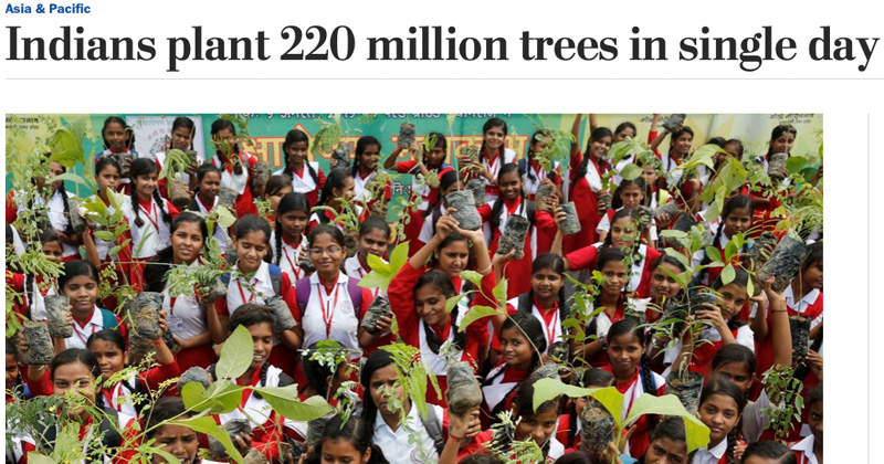 The Washington Post: Indians plant 220 million trees in single day